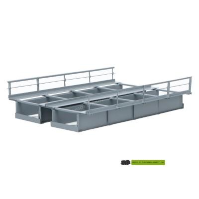 T15-2 Hack Brücken plaat-balkbrug metaal grijs dubbelsporig