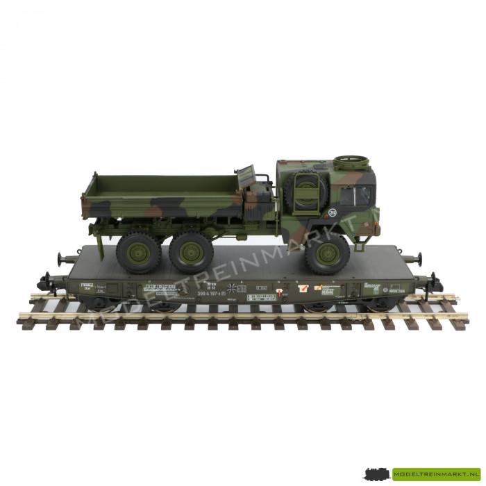 58658 4MFOR Plattewagon met Militaire Vrachtwagen