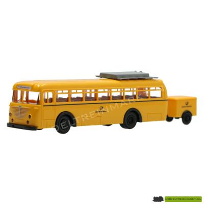 """Brekina - 6500 T Postbus """"Deutsche Post'' met Aanhanger"""