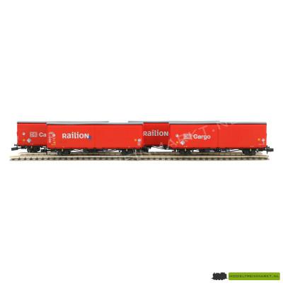 15544 Minitrix - Set met 4 schuifwandwagons (DB Cargo/Railion)